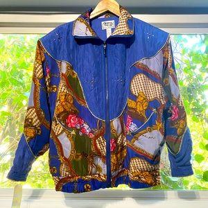 Clipper Bay 80's baroque print bomber silk jacket
